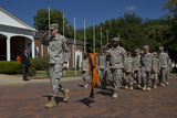 Shown in this photo are cadets parading around the
