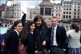 Students and intern in Trafalgar Square